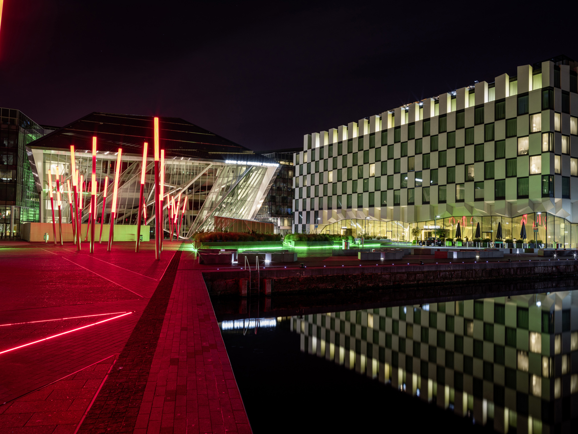 Nightime at Grand Canal Square, Dublin